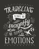 Travel. Vector hand drawn illustration for t-shirt print with hand-lettering quote. Stock Photos