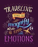 Travel. Vector hand drawn illustration for t-shirt print or poster with hand-lettering quote. Royalty Free Stock Photo