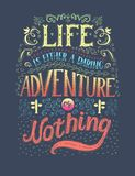 Travel. Vector hand drawn illustration for t-shirt print or poster with hand-lettering quote. Royalty Free Stock Photos