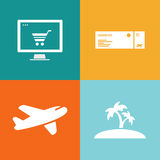 Travel vector icon, booking online Royalty Free Stock Photos