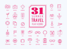 Travel vector icons set. Sea, rout and holiday Royalty Free Stock Images