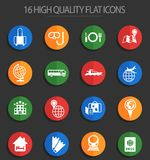 Travel 16 flat icons. Travel vector icons for web and user interface design stock illustration