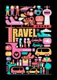 Travel vector illustration on a black vector illustration