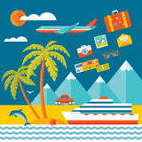 Travel - vector illustration concept in flat design style for presentation, advertising, booklet, poster etc. Royalty Free Stock Photo