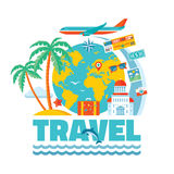 Travel - vector illustration concept in flat design style for presentation, advertising, booklet, poster etc. Stock Photos