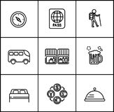 Travel vector lines icons flat style on white background vector illustration