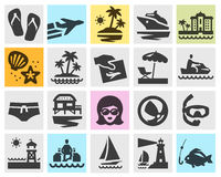 Travel vector logo design template. beach, rest or Royalty Free Stock Photography