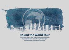 Travel vector logo design template. journey or around the world icon Stock Photo