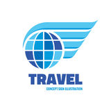 Travel - vector logo template concept illustration. Globe with wings creative sign. Design element Stock Photos