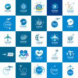 Travel vector logo. Vector logo template plane flight. Illustration journey Royalty Free Stock Photography