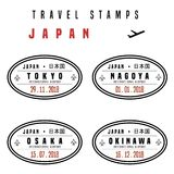 Japan passport stamps. Travel vector - passport stamps set fictitious stamps. Japan destinations: Tokyo, Nagoya, Osaka and Okinawa royalty free illustration