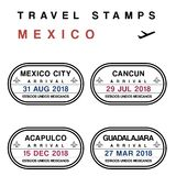 Mexico travel destinations. Travel vector - passport stamps set fictitious stamps. Mexico destinations: Mexico City, Cancun, Acapulco and Guadalajara royalty free illustration