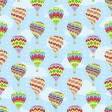 Travel vector seamless pattern of hot air balloons stock illustration
