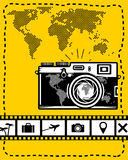 Travel vector set of camera, map and travel icons on yellow Stock Image