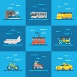 Travel vehicles set flat design Stock Image