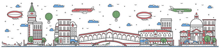 Travel in Venice city line flat design banner Royalty Free Stock Images