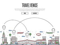 Travel Venice poster in linear style. Travel Venice poster with national architectural attractions and air route symbols in trendy linear style. Venetian famous Royalty Free Stock Photos