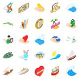Travel via boat icons set, isometric style. Travel via boat icons set. Isometric set of 25 travel via boat vector icons for web isolated on white background Royalty Free Stock Photos