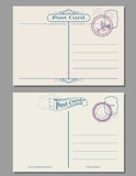 Travel vintage blank postcard with rubber stamps. Vector template Stock Photos
