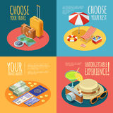 Travel Vintage 4 Isometric Icons Square. Summer vacation 4 Isometric vintage icons square composition with travel agent advertisement text poster abstract Stock Photos