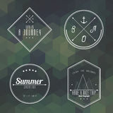 Travel vintage label on camouflage geometry background. Vector Royalty Free Stock Photo