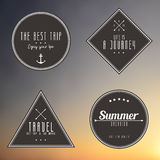 Travel vintage label on gradient background. Vector Stock Photography