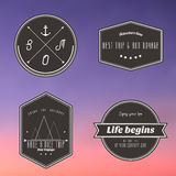 Travel vintage label on twilight gradient background. Vector Royalty Free Stock Photography