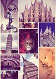 Travel vintage photo collage. Italy. Stock Image