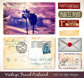 Travel Vintage Postcard Design with antique look Stock Photos