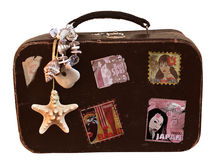 Travel Vintage Suitcase with stickers Royalty Free Stock Image