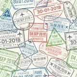 Travel visa airport stamps seamless pattern. Traveling document, vise or passport rubber stamp patterns vector royalty free illustration