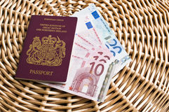 Travel visa and money Stock Image