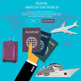 Travel, vocation concept in flat style for web, vector Stock Images