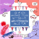 Travel, vocation set with inscription Take it to voyage Stock Photos