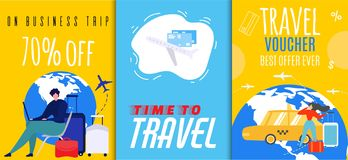 Travel Vouchers and Business Trip Sales Flyer Set. Advertisement Template for Online Tour Agency and Mobile Booking Service. Vector Illustration. Banner, Shop royalty free illustration
