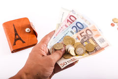 Travel wallet Euros - France Royalty Free Stock Images