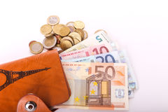 Travel wallet Euros - France Royalty Free Stock Photo