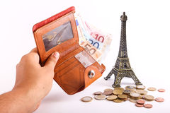 Travel wallet Euros - France Stock Photography