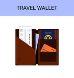 Travel wallet with passport, money, boarding pass, vector Royalty Free Stock Image