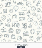 Travel wallpaper. Black and white trip seamless pattern. Royalty Free Stock Photo