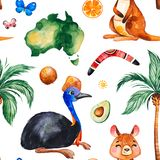 Travel watercolor seamless pattern with Australian animals,fruits,butterflies. Palm tree,boomerang and more. Perfect for wallpaper,print,packaging,invitations vector illustration
