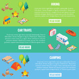 Travel web banner. Camping objects in vector isometric style.  Royalty Free Stock Image