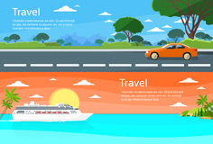 Travel Web Banner Car Drive Road, Cruise Ship Stock Images
