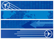Travel Web Banners in Shades of Blue. Four Travel Web Banners in Shades of Blue Royalty Free Stock Images