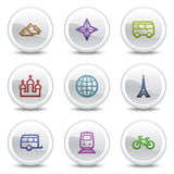 Travel web colour icons set 2, circle buttons Stock Photos