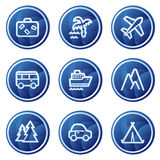 Travel web icons, blue circle buttons series Royalty Free Stock Photo