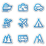 Travel web icons, blue contour sticker series Royalty Free Stock Photos