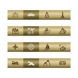 Travel web icons on bronze bar Stock Photo