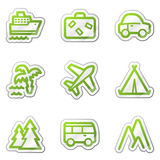 Travel web icons, green contour sticker series Stock Image