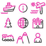 Travel web icons, pink contour series Stock Images